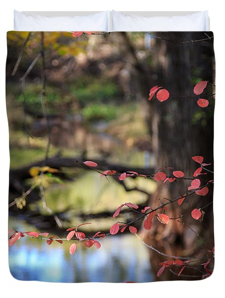 Creek And Fall Color Duvet Cover