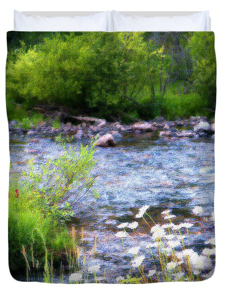 Duvet Cover featuring the photograph Creek Daisys by Susan Kinney