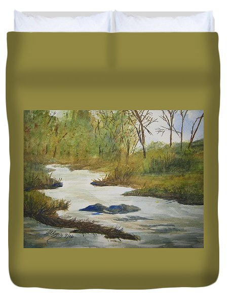 Duvet Cover featuring the painting Creek In The Catskills by Ellen Levinson