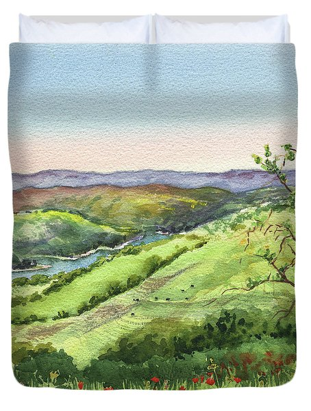 Duvet Cover featuring the painting Creek In The Hills Watercolor Landscape  by Irina Sztukowski