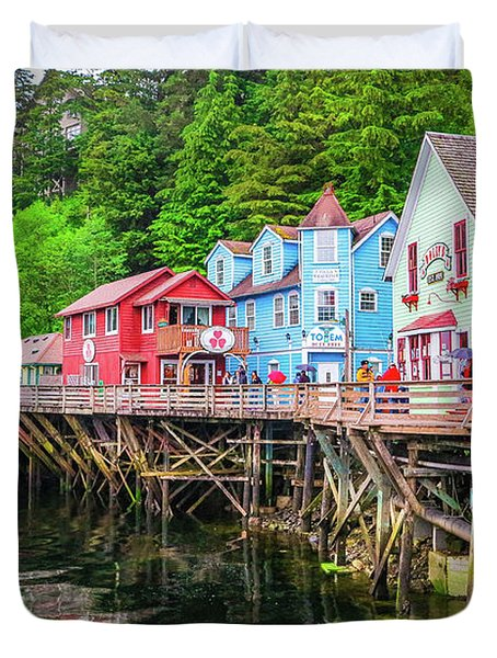 Creek Street Ketchikan Alaska Duvet Cover
