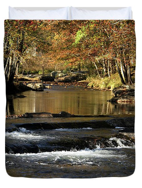 Creek Water Flowing Through Woods In Autumn Duvet Cover