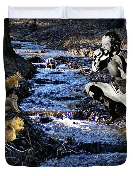 Duvet Cover featuring the photograph Creekside Serenade By Ian by Ben Upham