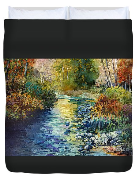 Duvet Cover featuring the painting Creekside Tranquility by Hailey E Herrera