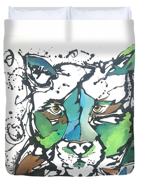 Duvet Cover featuring the painting Creep by Nicole Gaitan
