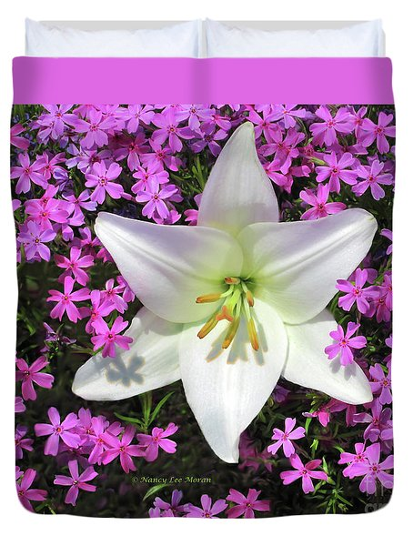 Duvet Cover featuring the photograph Creeping Fuchsia Phlox With Lily by Nancy Lee Moran