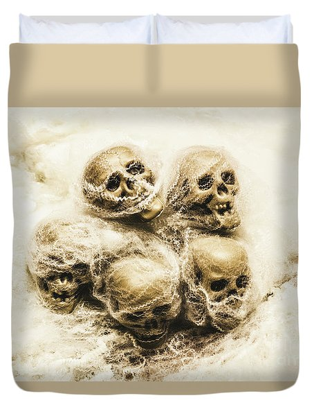 Creepy Skulls Covered In Spiderwebs Duvet Cover