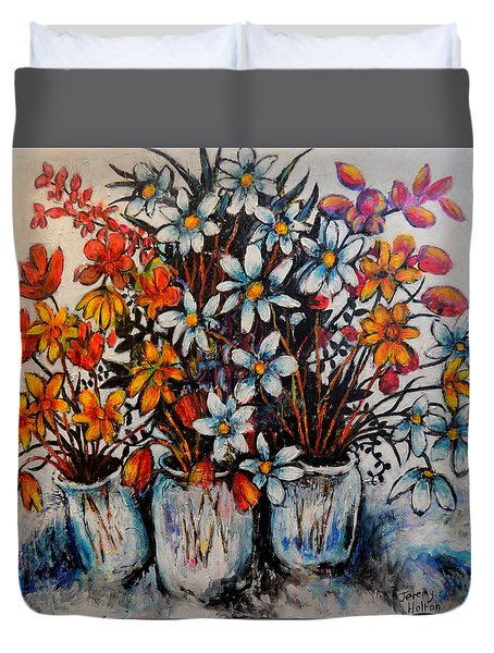 Crescendo Of Flowers Duvet Cover