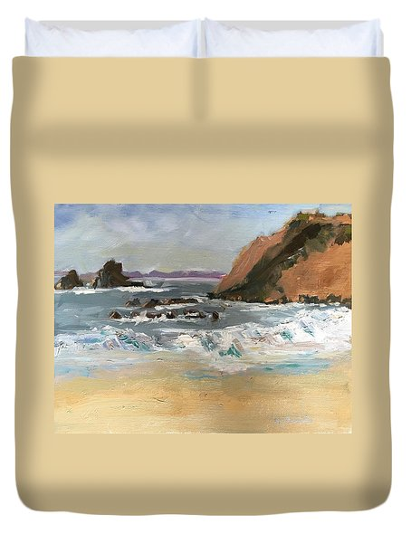 Duvet Cover featuring the painting Crescent Beach At Laguna  by MaryAnne Ardito