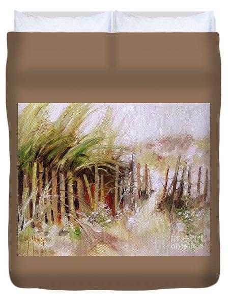 Crescent Beach Fence Dune Grass Coastal Duvet Cover