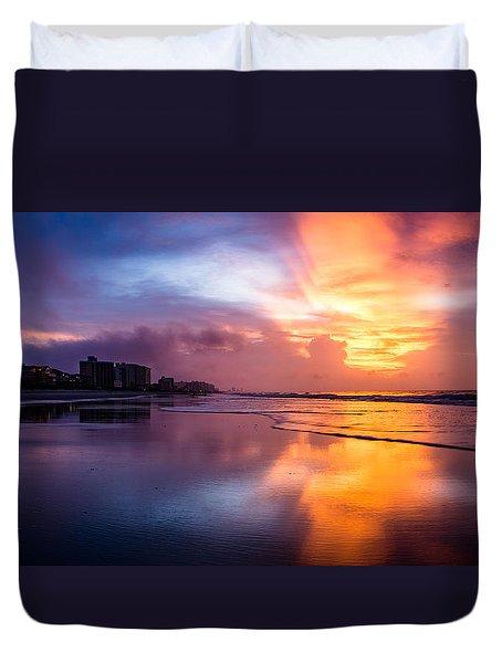 Crescent Beach Sunrise Duvet Cover