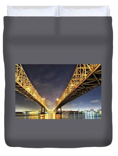 Crescent City Bridge In New Orleans Duvet Cover