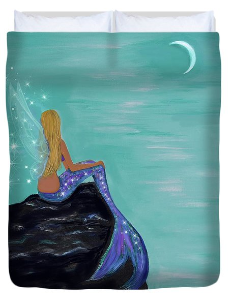 Duvet Cover featuring the painting Crescent Mermaid Moon Fairy by Leslie Allen