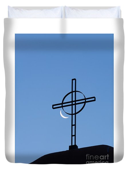 Crescent Moon And Cross Duvet Cover