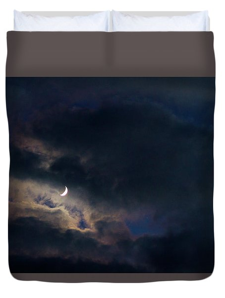 Crescent Moon In Hocking Hilla Duvet Cover by Haren Images- Kriss Haren