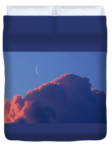 Crescent Moon In The Pink Duvet Cover