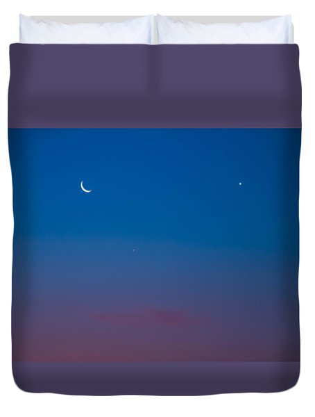 Crescent Moon Mercury And Venus Duvet Cover