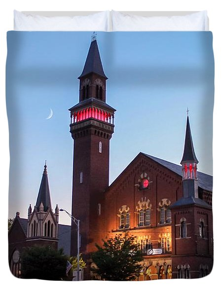 Crescent Moon Over Old Town Hall Duvet Cover