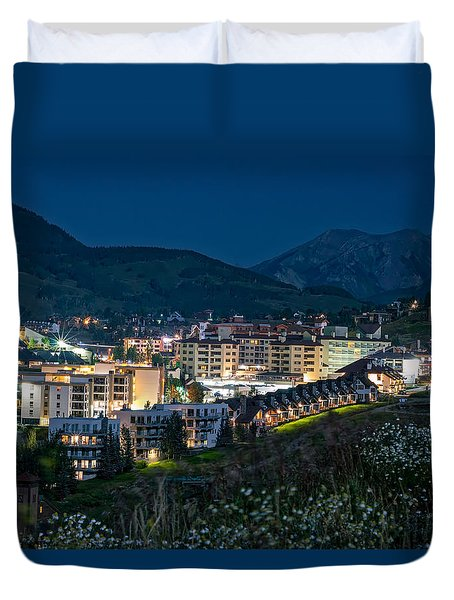 Crested Butte Village Under Full Moon Duvet Cover