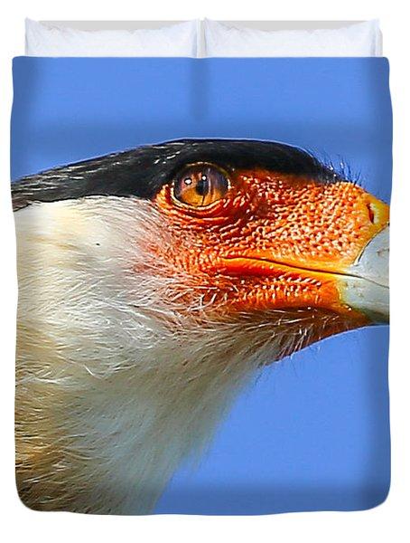 Crested Caracara Face Duvet Cover