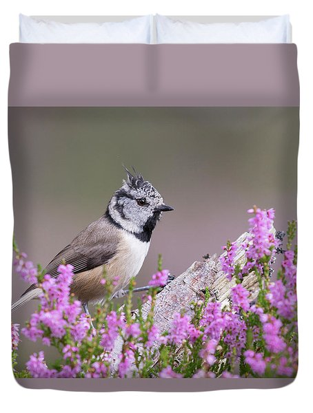 Crested Tit In Heather Duvet Cover