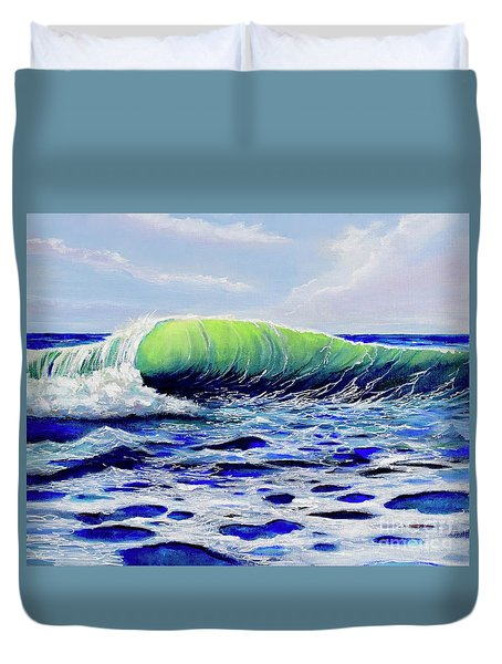 Duvet Cover featuring the painting Cresting Wave by Mary Scott