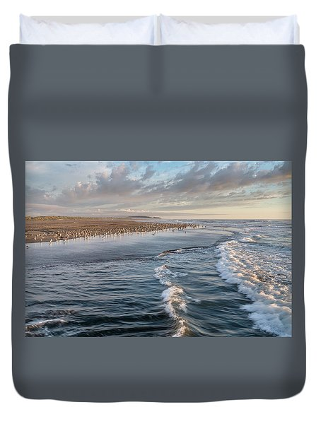 Crests And Birds Duvet Cover by Greg Nyquist