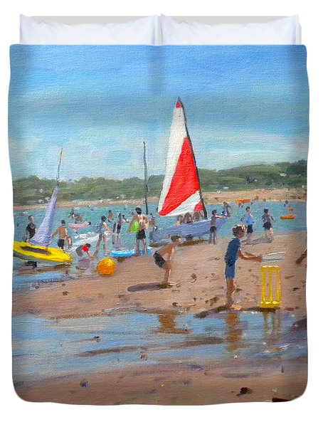 Cricket And Red And White Sail Duvet Cover