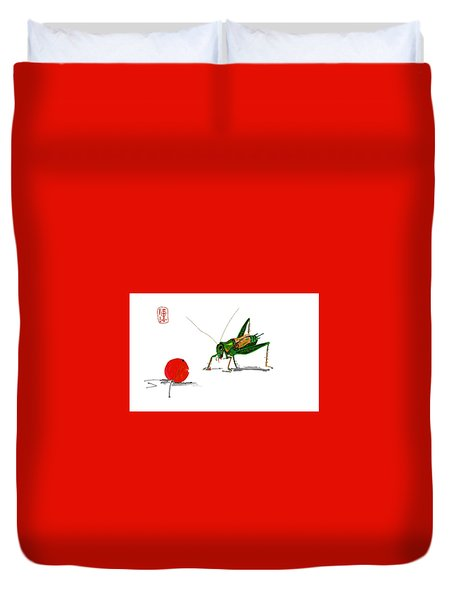 Cricket  Joy With Cherry Duvet Cover