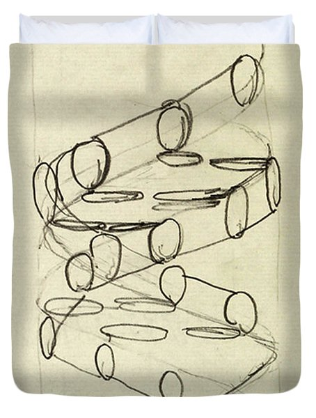Cricks Original Dna Sketch Duvet Cover by Science Source