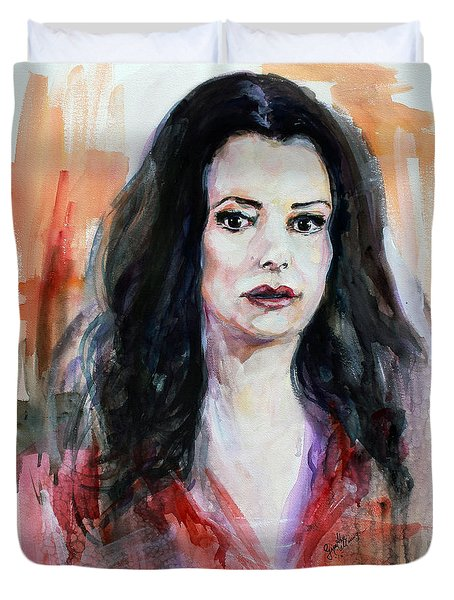 Duvet Cover featuring the painting Criminal Minds Emily Prentiss by Ginette Callaway