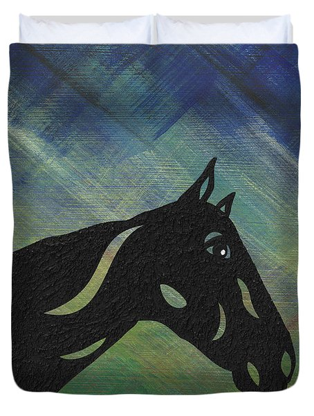Crimson - Abstract Horse Duvet Cover