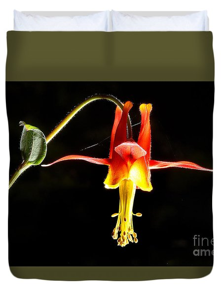 Crimson Columbine Flower Hanging In There Duvet Cover