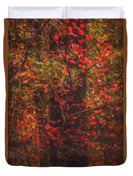 Crimson Fall Duvet Cover