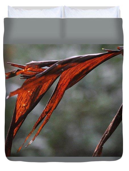 Crimson Leaf In The Amazon Rainforest Duvet Cover