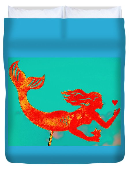 Crimson Mermaid Duvet Cover