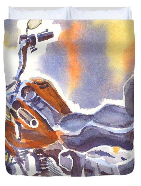 Crimson Motorcycle In Watercolor Duvet Cover