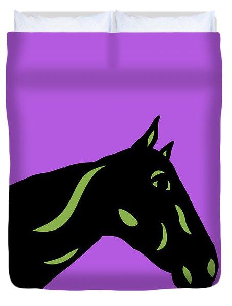 Crimson - Pop Art Horse - Black, Greenery, Purple Duvet Cover
