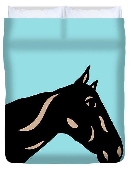 Crimson - Pop Art Horse - Black, Hazelnut, Island Paradise Blue Duvet Cover