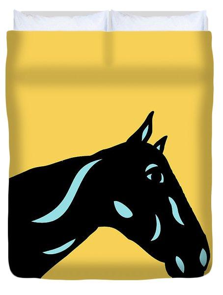 Crimson - Pop Art Horse - Black, Island Paradise Blue, Primrose Yellow Duvet Cover