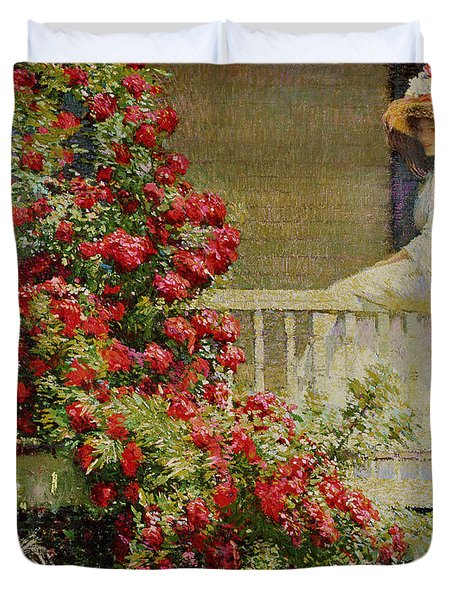 Crimson Rambler Duvet Cover by Philip Leslie Hale
