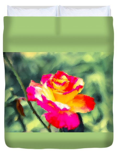 Crimson Rose Painting Duvet Cover by Don Wright