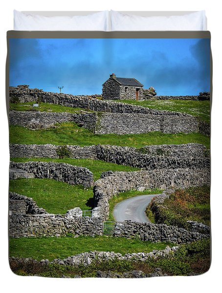 Duvet Cover featuring the photograph Criss-crossed Stone Walls Of Inisheer by James Truett