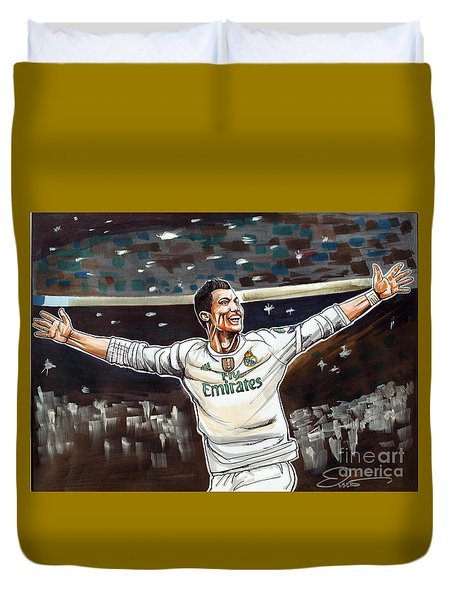 Cristiano Ronaldo Of Real Madrid Duvet Cover by Dave Olsen