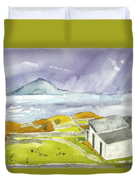 Croagh Patrick And Purple Sky Duvet Cover