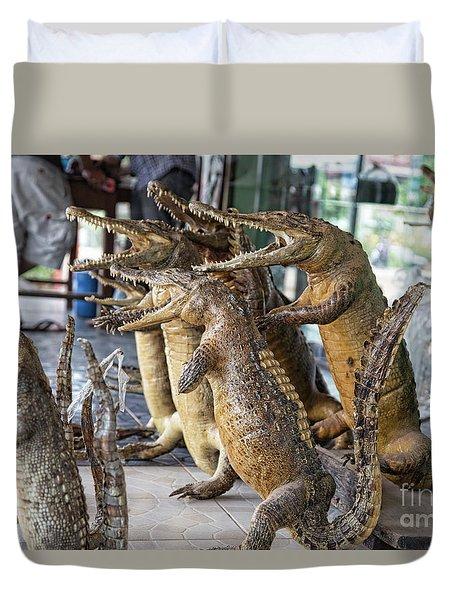 Crocodiles Rock  Duvet Cover by Chuck Kuhn