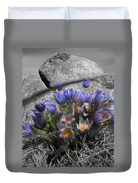 Crocus - Between A Rock And You Duvet Cover by Stuart Turnbull