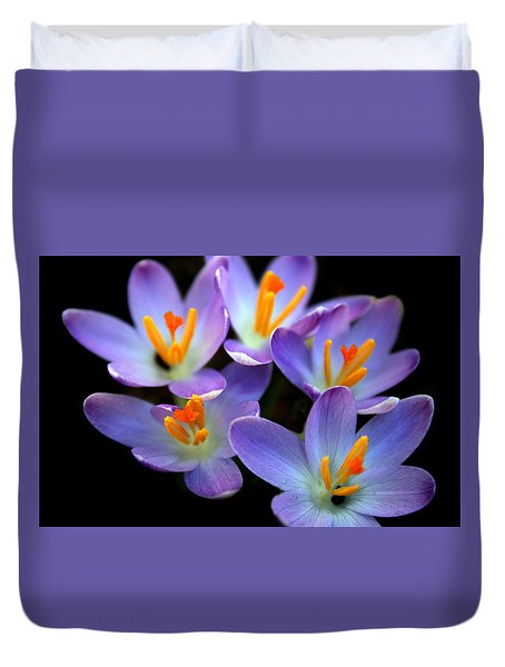 Duvet Cover featuring the photograph Crocus Aglow by Jessica Jenney