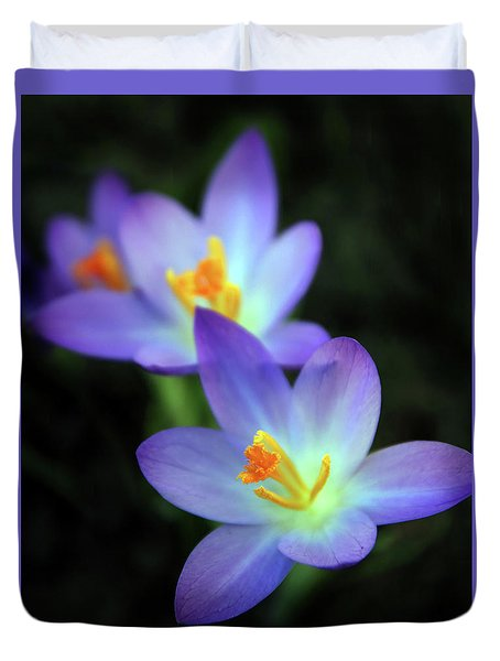 Duvet Cover featuring the photograph Crocus In Bloom by Jessica Jenney