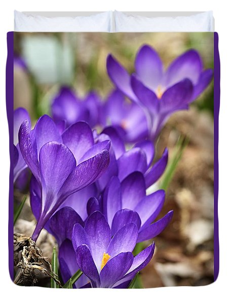 Duvet Cover featuring the photograph Crocuses by Larry Ricker